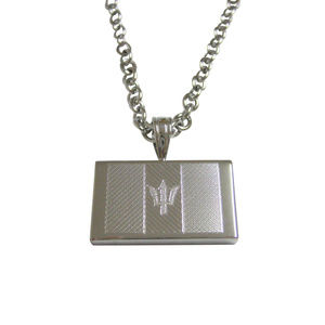 Silver Toned Etched Barbados Flag Unisex Necklace